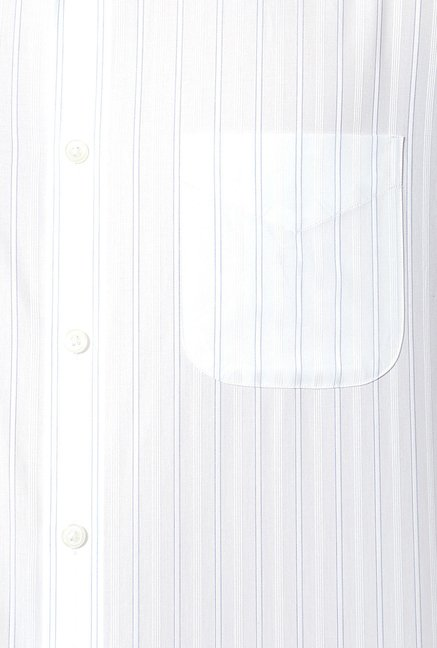 Peter England White Striped Cotton Shirt