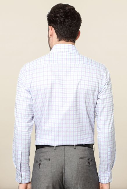 Peter England White Checks Cotton Formal Shirt