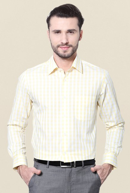 Peter England Yellow Checks Cotton Formal Shirt