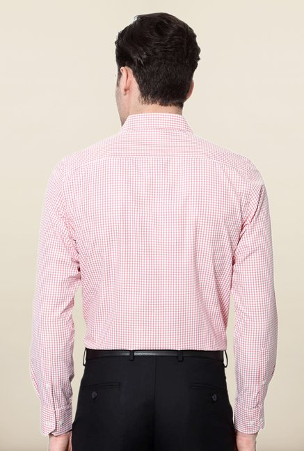 Peter England Pink & White Checks Formal Shirt