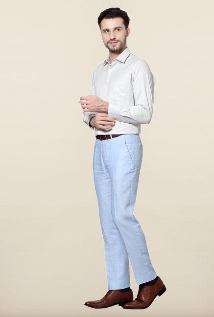 Peter England Cream Slim Fit Formal Shirt