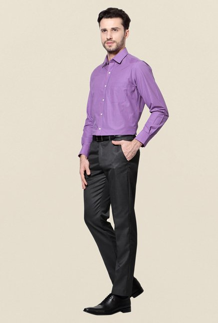 Peter England Purple Checks Slim Fit Cotton Shirt