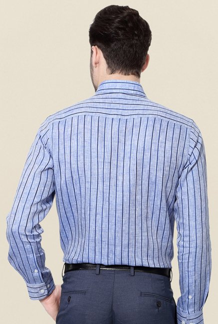 Peter England Blue Striped Linen Formal Shirt