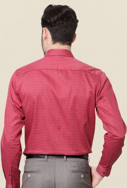 Peter England Red Checks Cotton Formal Shirt