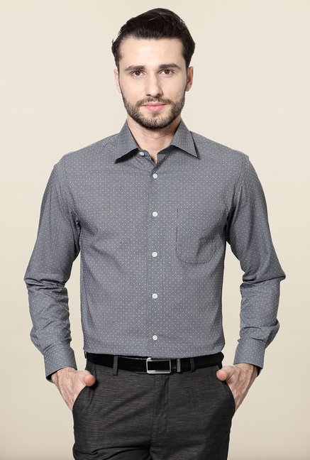 Peter England Grey Printed Cotton Formal Shirt