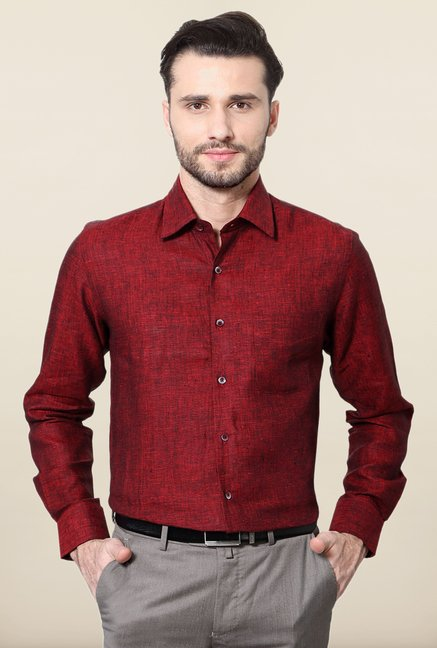 Peter England Maroon Formal Shirt