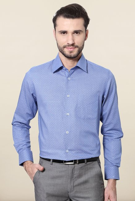 Peter England Blue Printed Formal Shirt