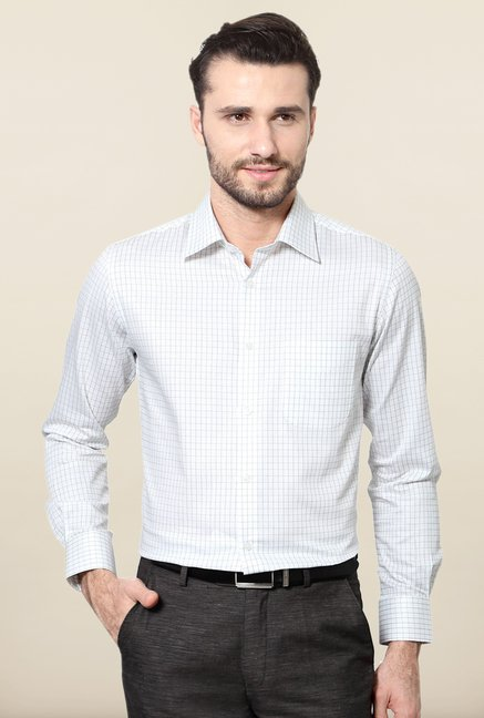 Peter England White & Black Checks Slim Fit Formal Shirt