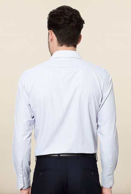 Peter England White Striped Slim Fit Shirt