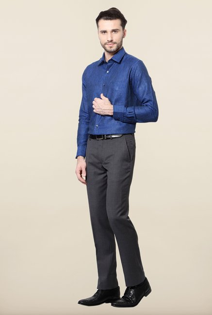Peter England Royal Blue Striped Formal Shirt