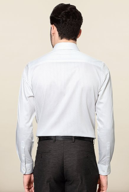 Peter England White & Black Striped Slim Fit Formal Shirt