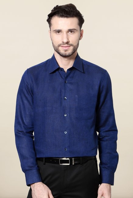 Peter England Navy Linen Shirt