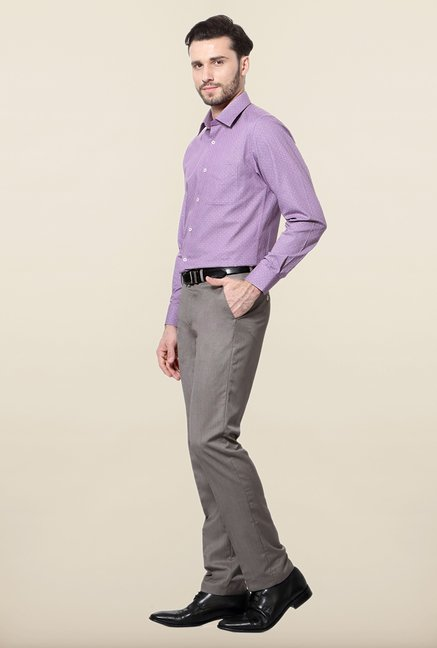 Peter England Purple Printed Cotton Formal Shirt
