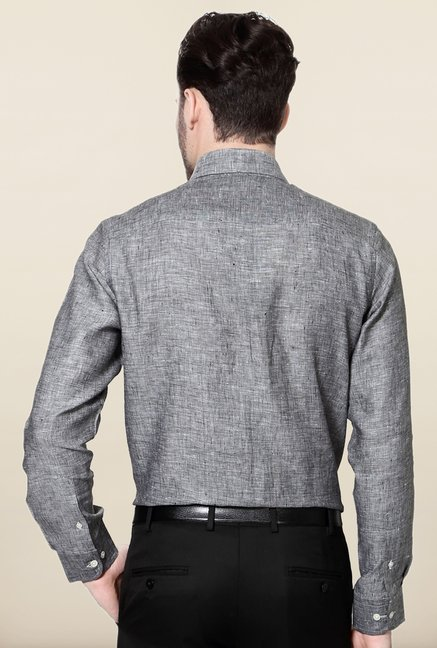 Peter England Grey Solid Slim Fit Formal Shirt