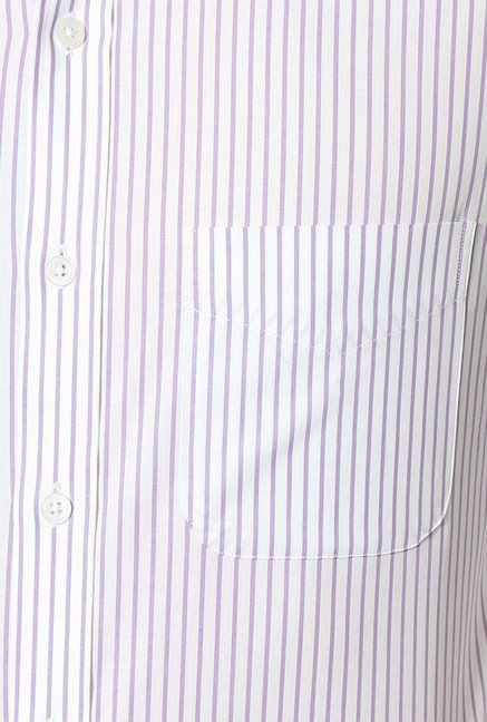 Peter England White Striped Slim Fit Cotton Formal Shirt