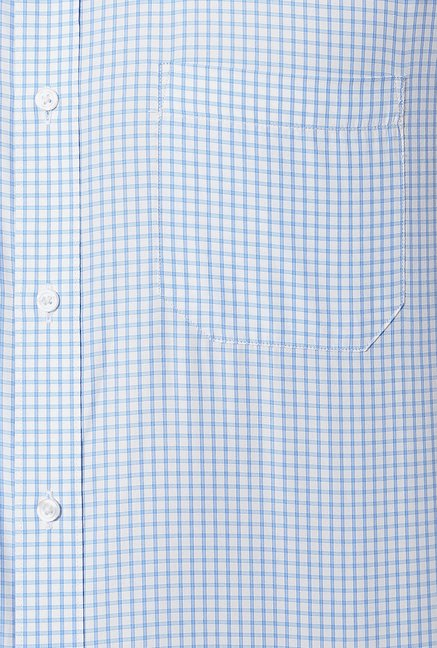 Peter England Blue & White Checks Formal Shirt