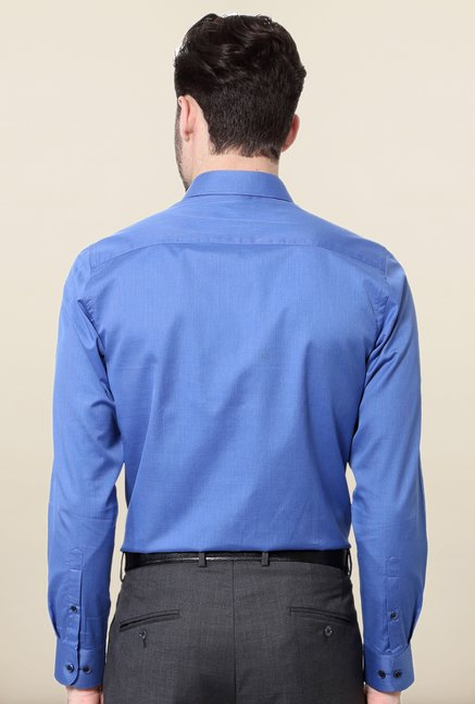 Peter England Blue Solid Cotton Shirt