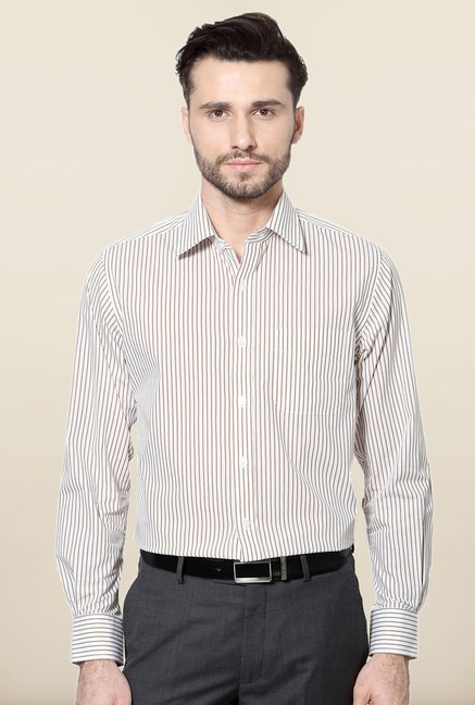 Peter England Khaki Striped Slim Fit Formal Shirt