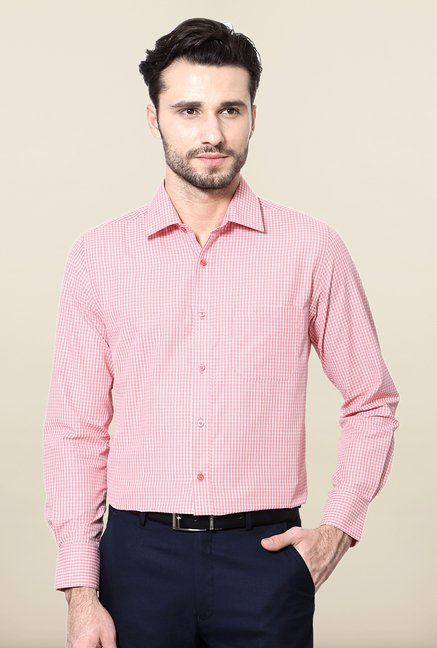 Peter England Pink & White Slim Fit Formal Shirt