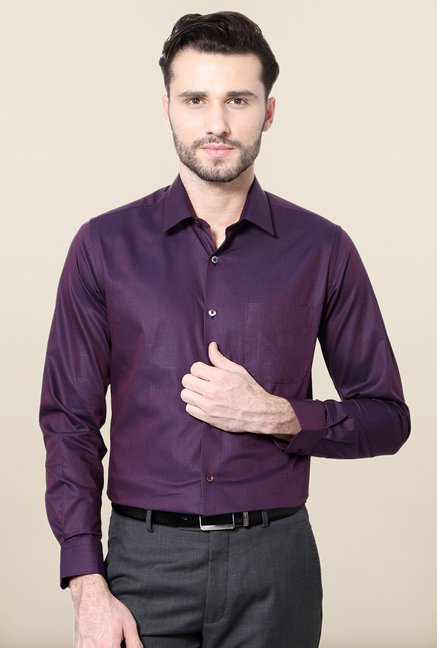 Peter England Purple Checks Cotton Formal Shirt