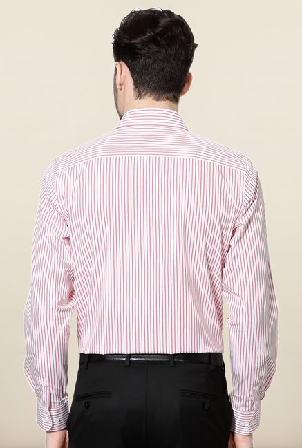 Peter England Red Striped Cotton Formal Shirt