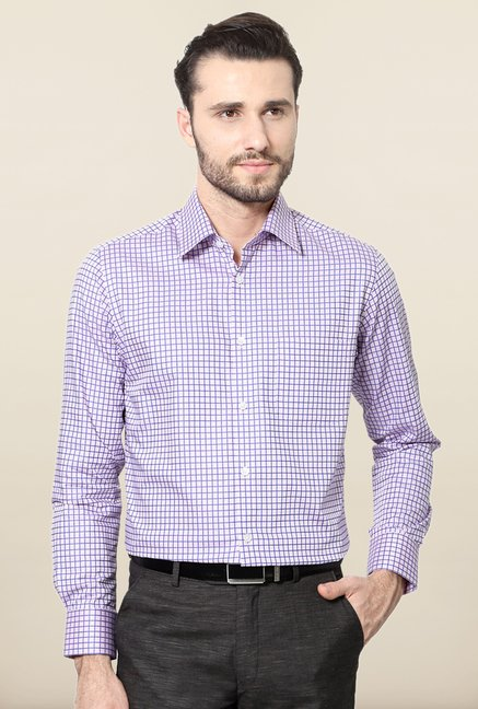 Peter England Purple Checks Cotton Shirt