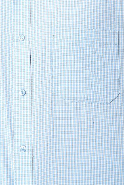Peter England Blue & White Slim Fit Formal Shirt