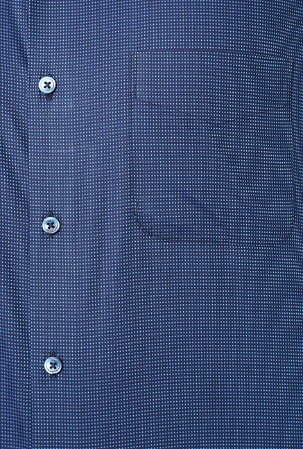 Peter England Navy Checks Cotton Formal Shirt