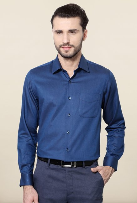 Peter England Navy Cotton Formal Shirt