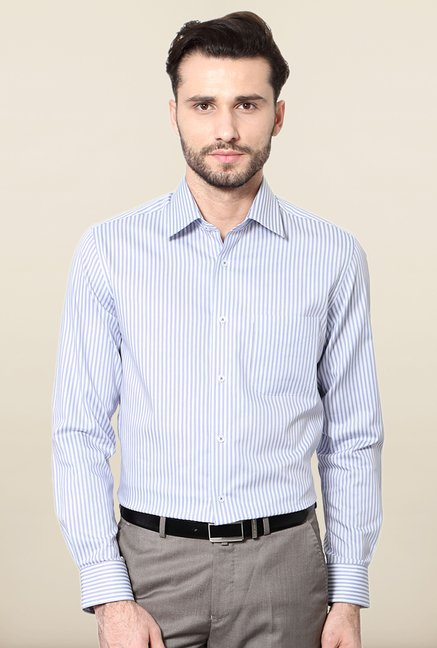 Peter England Lilac Striped Formal Shirt