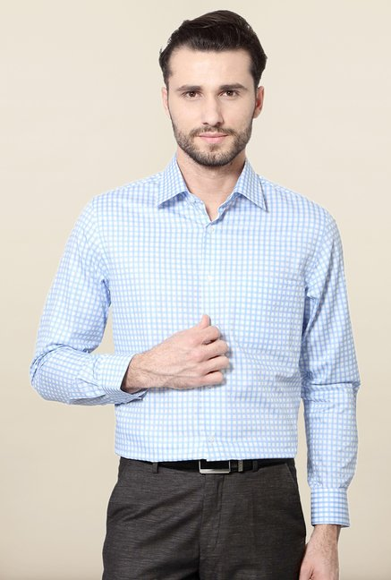 Peter England Blue Checks Cotton Shirt