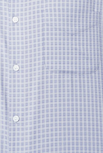 Peter England Grey Checks Slim Fit Formal Shirt