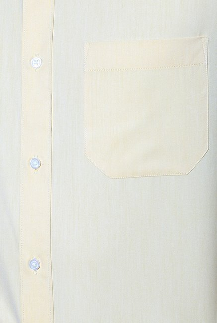 Peter England Yellow Solid Formal Shirt