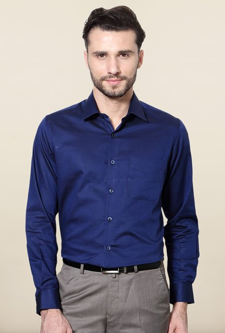 Peter England Navy Solid Cotton Formal Shirt