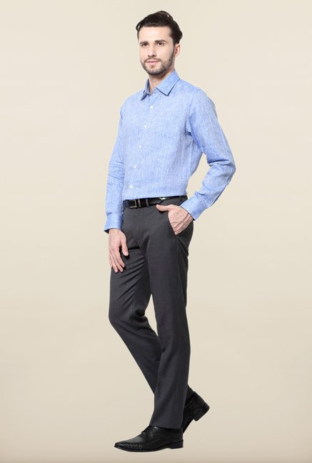Peter England Blue Linen Formal Shirt