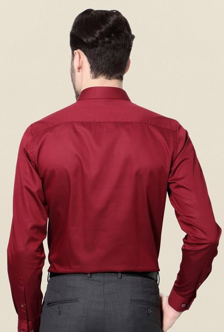 Peter England Maroon Slim Fit Formal Shirt
