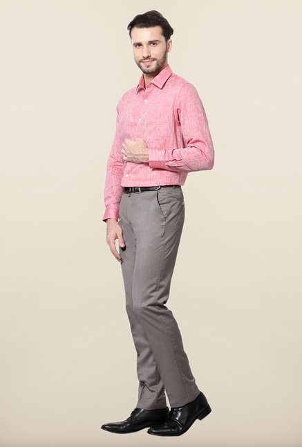 Peter England Pink Linen Formal Shirt