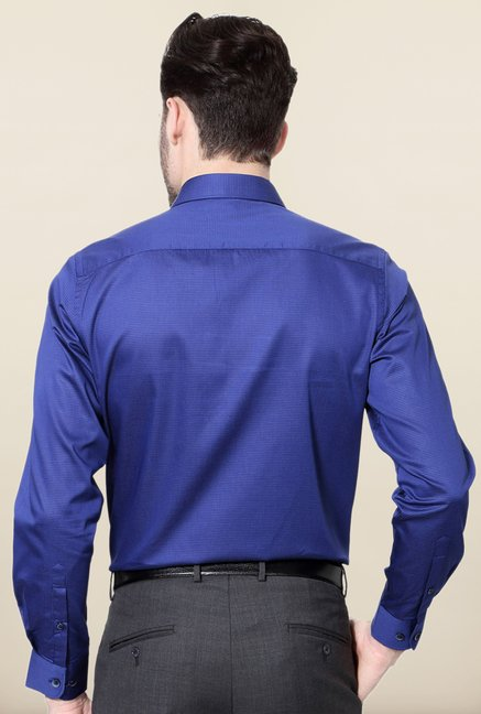 Peter England Royal Blue Cotton Formal Shirt