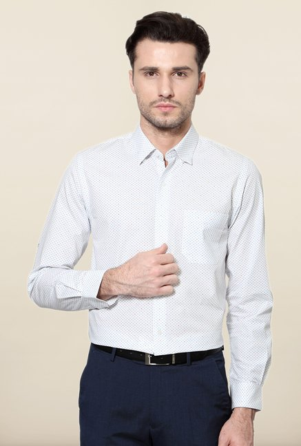Peter England White Printed Cotton Formal Shirt