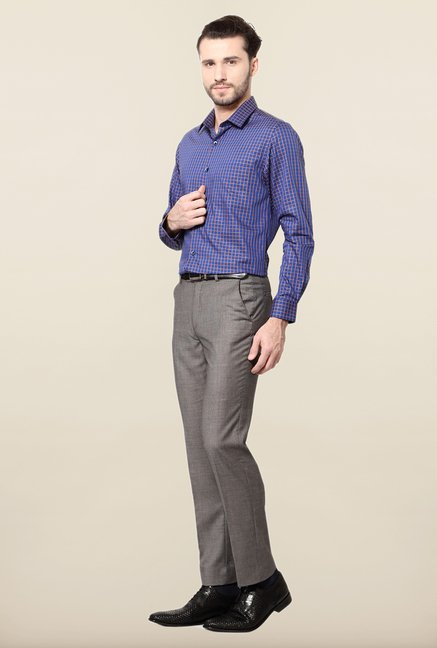 Peter England Blue Slim Fit Cotton Formal Shirt