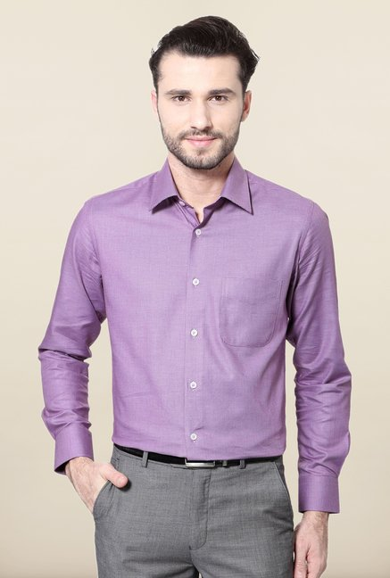 Peter England Purple Printed Slim Fit Cotton Formal Shirt