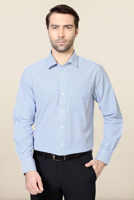 Peter England Blue & White Slim Fit Shirt
