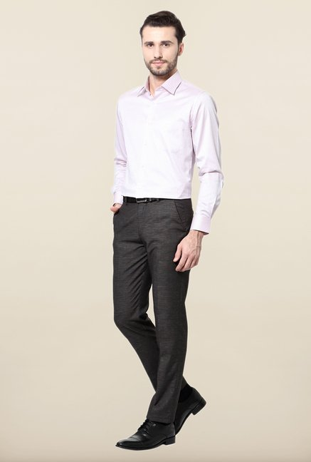 Peter England Pink Striped Cotton Formal Shirt