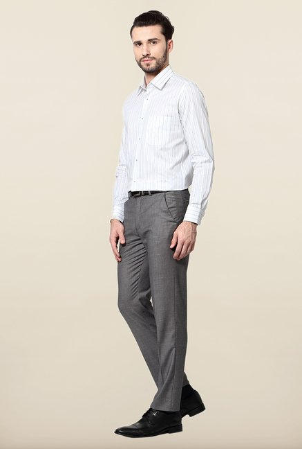 Peter England White Striped Slim Fit Cotton Shirt