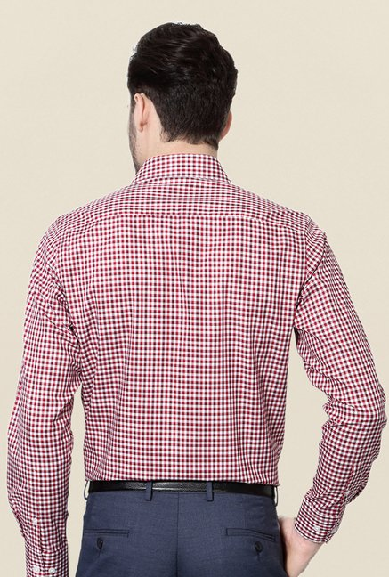 Peter England Red & White Checks Cotton Formal Shirt