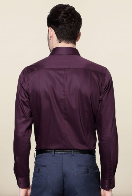Peter England Purple Solid Cotton Formal Shirt