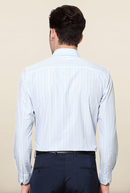 Peter England White & Blue Striped Formal Shirt