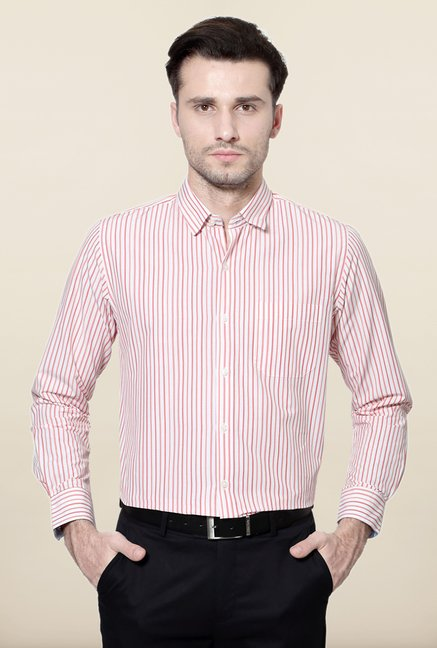 Peter England Red & White Striped Formal Shirt