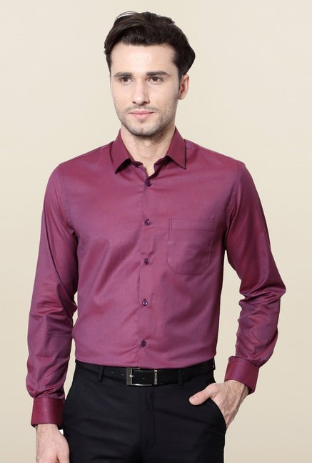 Peter England Purple Solid Formal Shirt