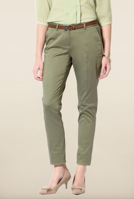 Allen Solly Green Solid Trouser